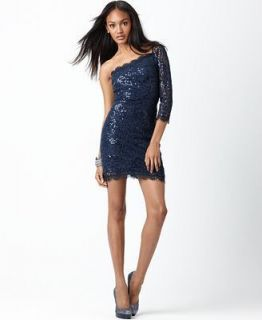 Jessica Simpson One Shoulder Lace Sequin Navy Blue Cocktail Dress 14 $