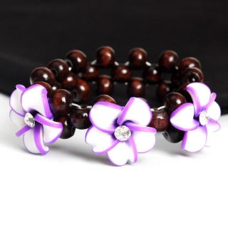 White Purple Clay Flower Wooden Bead Stretch Bracelet