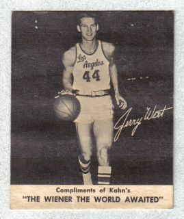 1960 61 Kahns Jerry West Los Angeles Lakers Rookie West Virginia