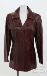 Florence House of Leather Burgundy Leather Button Front Jacket Size