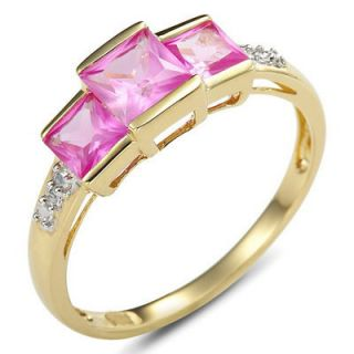 Jewelry Womans Pink Sapphire 10KT Yellow Gold Filled Ring Size 8