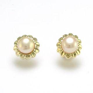14k 1 70 grams Gold Sunflower Pink Pearl Post Earrings E616
