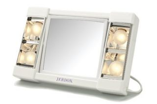 Jerdon Lighted Table Top Makeup/ Shave Mirror 3X Magnification Compact
