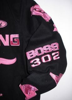 Ford Mustang Racing Women Cut Pink Cotton Jacket L