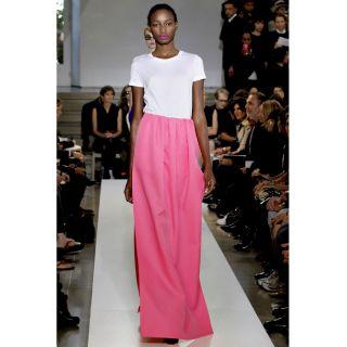 Jil Sander SS11 $780 Long Pleated Fuchsia Skirt 42 de 10 US New Neon