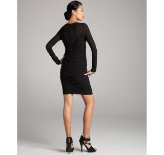 Jill Jill Stuart Black Silk Crepe Ruched Long Sleeve Dress 4 $298 00