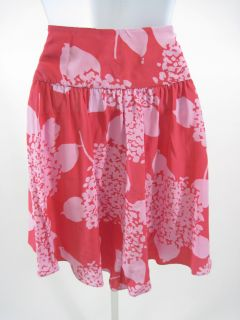 Jill Stuart Pink Floral Print Silk Skirt Sz 8