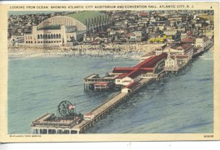 Atlantic City New Jersey Auditorium Boardwalk Aerial View Vintage