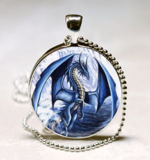 Blue Dragon Glass Tile Jewelry Necklace Pendant