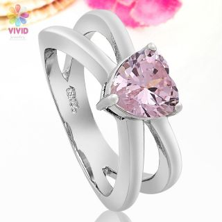 Jewelry Gift Heart Cut Pink Sapphire White Gold GP Cocktail Ring 8
