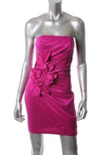 Jessica McClintock New Pink Slub Rosette Strapless Cocktail Evening