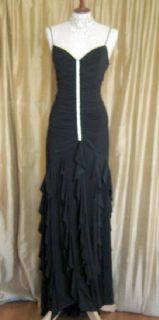 Jessica McClintock Black Slinky Rhinestones Dress Size 14