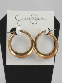 Jessica Simpson Rose Gold Pave Twisted Hoop Earrings