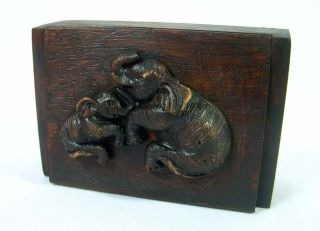 New Thai Handmade Jewelry Box Trinket Teak Wood Elephant Resin Wooden