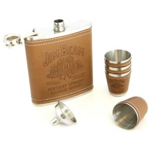 Jim Beam 7oz Flask Shot Glass Funnel Set with Stainless Steel Leather