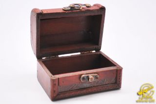 Mini Wooden Treasure Chest Wood Jewelry Box Storage Box