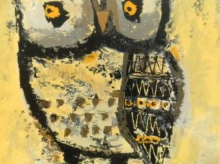 Original Hand Colored Owl Print Margaret Layton with Nice Frame