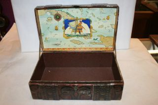Antique Italian Leather Trunk Style Jewelry Box C 1940