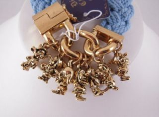 Disney Couture Antique Gold Bracelet with Snow White 7 Dwarf Charms