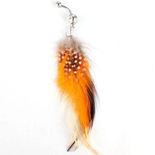 Dot Orange Feathers Dangle Rhinestone Women Belly Ring Jewelry