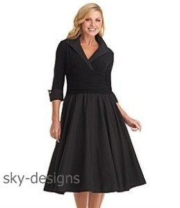Jessica Howard Black Ruched Shirtdress Jersey /Taffeta Cocktail Dress