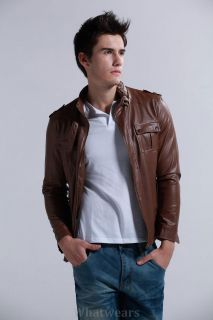JJ Mens Slim Fitted Stylish PU Leather Coat Jacket 3 Size Brown Z1176