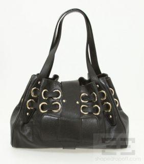 Jimmy Choo Black Leather Grommet Drawstring Handbag