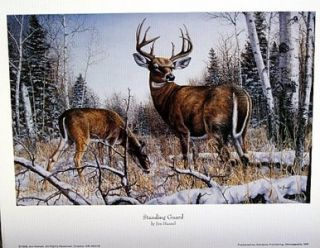 Jim Hansel Deer Print Standing Guard 12 x 7 75