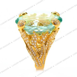 Dior 18K Yellow Gold Beryl and Diamond Cocktail Ring