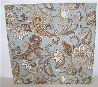 Blue Brown Jacobean Floral Linen Fabric Bulletin Board Memo
