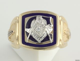Diamond Blue Lodge Masonic Ring   10k W&Y Gold Solid Back Master Mason