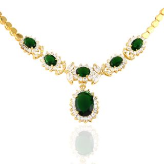 Emerald Yellow Gold Plated Pendant Necklace Neck Chain Jewelry