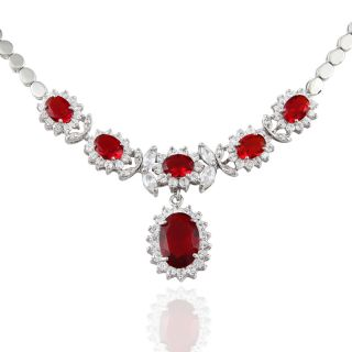 CUT RED RUBY WHITE GOLD PLATED PENDANT NECKLACE SILVER TONE NECK CHAIN