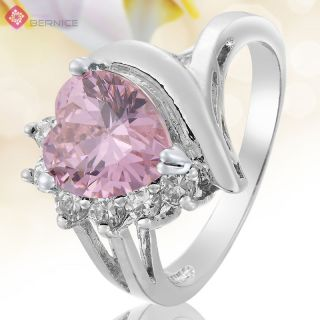 Jewelry Heart Cut Pink Sapphire White Gold GP Cocktail Ring 8 Q