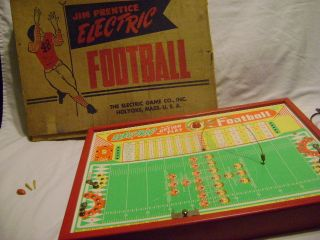 Vintage Jim Prentice Electric Football Game Original Box 1950s 60s Toy