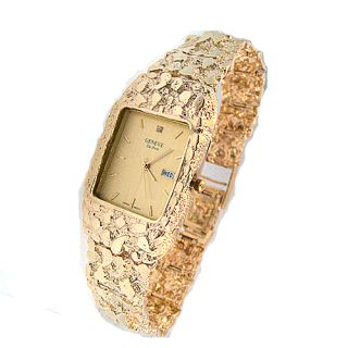 Geneve 14kt Solid Gold Mens Nugget Watch New