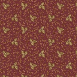 Red Tan Leaf Branch Jo Morton Andover Cotton Quilt Shop Fabric