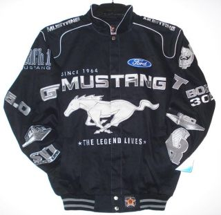 AUTHENTIC NASCAR FORD MUSTANG RACING COTTON BLACK EMBROIDERED JACKET L