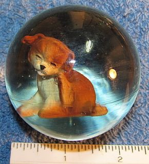 Jim Davis Sulphide Painted Cute Puppy Dog Glass Marble 2 1 4 Signed