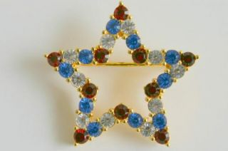 Joan Rivers Rhinestone Star Pin Brooch American Pride