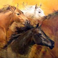 Gladys Morante Horses Original Painting on Canvas Custom Leather