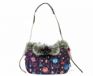 New Jimmy Choo Biker Fox Floral Suede Bag Purple Handbag Shoulder Bag
