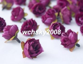 40pcs Dark Purple Silk Flower Rose Head Wedding Party Decoration 1