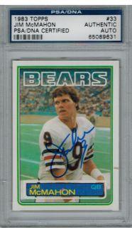PSA/DNA Jim McMahon Signed Bears 1983 Topps Rookie RC Card #33   SB XX