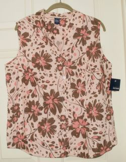 New Womens Blouse Tank Top Camp Shirt Sleeveless Button Down Up Pink