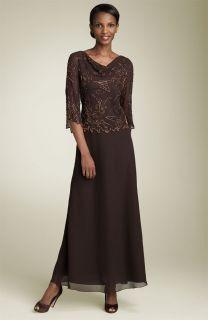 Kara Beaded Mock Two Piece Chiffon Gown Sz 12