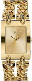 New Guess Women I90176L1 Gold Tone Chain Bracelet Watch