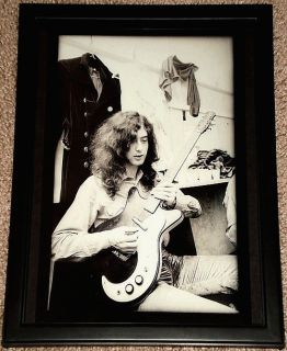 Jimmy Page Danelectro Guitar LED Zeppelin Framed Portrait