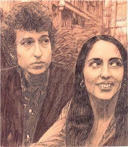 Bob Dylan Joan Baez Portrait by Ruth Freeman Ink 7 1 2 x 8 1 2