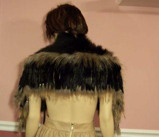 Jocelyn Knitted Fringe Fox Collar with Raccoon Trim